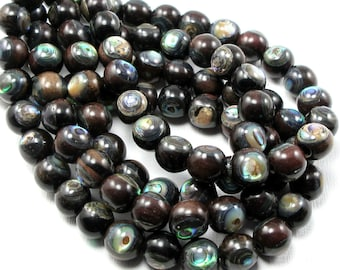Ebony Wood with Abalone Shell Inlay, 9mm-10mm, Round, Natural Wood and Shell, Round, Smooth, 8-Inch Strand - ID 1054