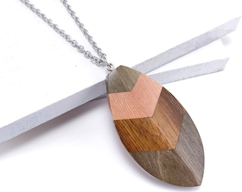 Mosaic Mixed Wood Leaf/Feather Shield Pendant, Stainless Steel Bail, Multicolored, Artisan Made, Natural Wood, 70x35x7mm, 1pc - ID 2593-PNDT