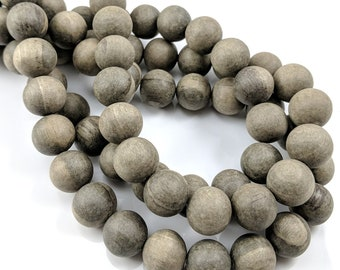 Unfinished Graywood, 14mm - 15mm, Unwaxed, Gray/Brown, Round, Smooth, Natural Wood Beads, 16-Inch Strand - ID 2165