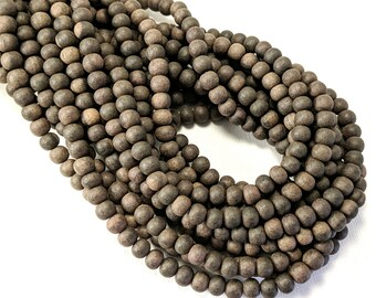 Unfinished Ebony Wood Bead, 6mm - 7mm, Unwaxed, Dark Brown/Black, Banded, Round, Small, Natural Wood Bead, 16 Inch Strand - ID 2355
