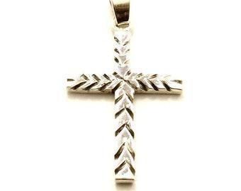 Sterling Silver Cross, Handmade, OOAK, Simple, Artisan Freeform Arrow Design, Focal Bead, Pendant, Large, 38mm x 20mm (1pc) - ID 2147