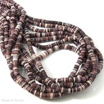 Violet Oyster Shell Beads, 4mm - 5mm, Dark Purple/Maroon, Heishi, Thin, Small, Natural, Multi Colored, Extra Long 24 Inch Strand - ID 2075