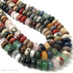 Mixed Gemstones, Large Hole Bead, 8mm, Dakota Stones, Rondelle, Smooth, Multicolored, Various Color, Gemstone Beads, 8 Inch Strand - ID 2328