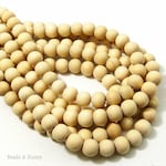 Unfinished Whitewood, 8mm, Unwaxed, Unbleached, Round,  Natural Wood Beads, Smooth, Small, 16 Inch Strand - ID 2174