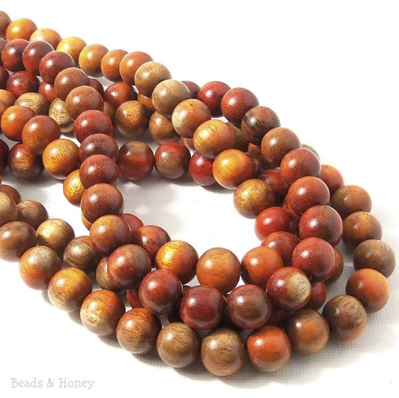 Red Round Natural Wood Beads 10mm Large Hole 16 Inch Strand
