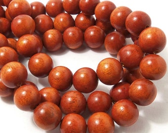Sibucao, 14mm - 15mm, Natural Redwood Beads, Wood Bead, Round, Smooth, Large, 16-Inch Strand - ID 1640