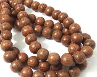 Palmwood Bead, Dark, 12mm,Round, Smooth, Natural Wood Beads, Large, 16 Inch Strand - ID 1418-DK