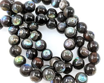 Ebony Wood with Abalone Shell Inlay, 11mm-12mm, Round, Smooth, Natural Wood and Shell, Artisan Handmade Bead, Large, 8-Inch Strand - ID 1294