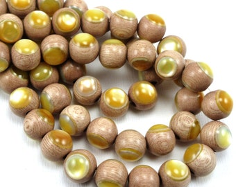 Rosewood with Gold Mother-of-Pearl Inlay, 10mm, High Quality, Round, Smooth, Natural Wood, Artisan Inlaid Beads, 8-Inch Strand - ID 2495