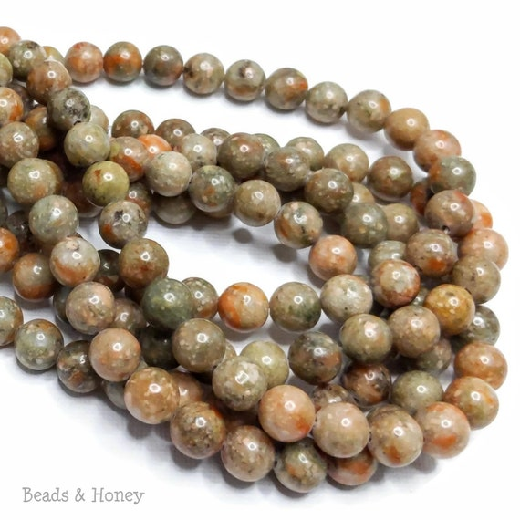 8mm Picture Jasper Beads Gemstones High Quality Full Strand Natural Brown B-3