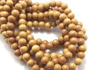 Nangka, Natural Wood Beads, Round, Smooth, 8mm, Small, 16 Inch Strand - ID 1052