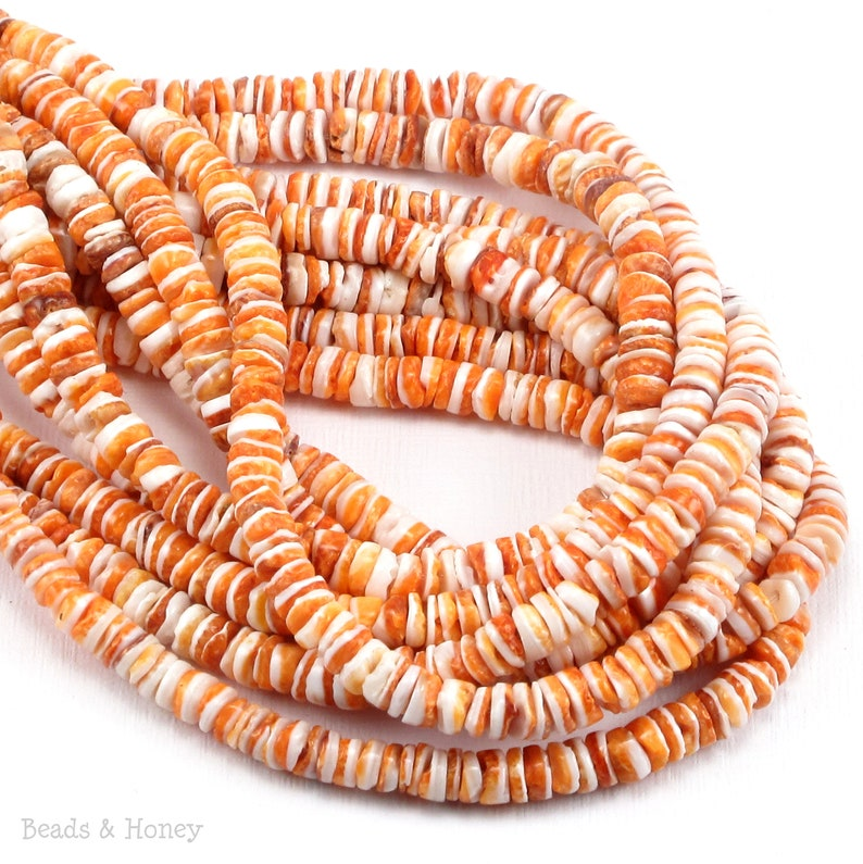 Orange Spiny Oyster Shell 4-5mm Heishi Rondelle Thin image 0
