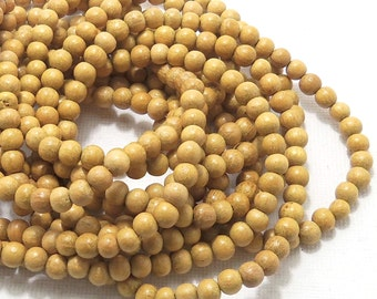 Nangka, Natural Wood Beads, Round, Smooth, 4mm - 5mm, Very Small, Full 16 Inch Strand, 92-94pcs - ID 1409