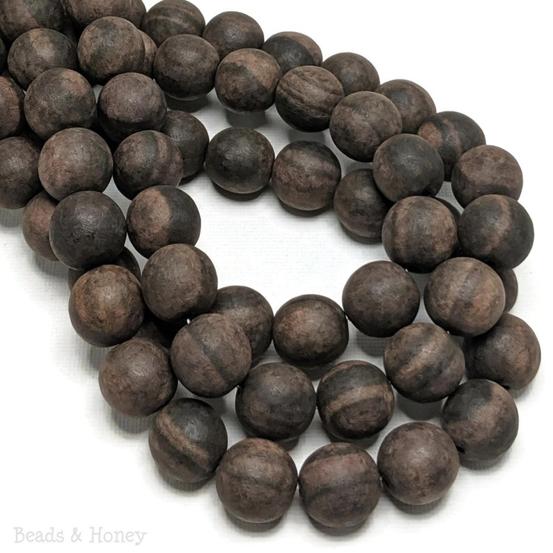 Unfinished Ebony Wood Bead 14mm-15mm Unwaxed Dark Brown and image 0