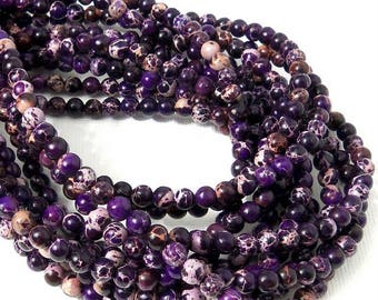 Impression Stone, Dark Purple, 4mm, Round, Smooth, Mixed Color, Multicolored, Gemstone Beads, Very Small, 16 Inch Strand - ID 2247