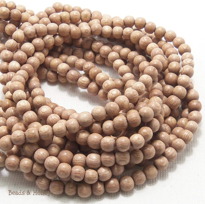 Rosewood Round 4mm  5mm Very Small Natural Wood Beads image 0