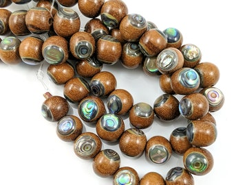 Magkuno Wood with Abalone Shell Inlay, 12mm, Inlaid Wood Beads, Round, Smooth, Light Brown, Natural Wood, 8-Inch Strand - ID 1715-LT