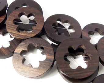Ebony Wood Flat Coin with Flower Cut Out, Open, Cage Bead, Focal Bead, Pendant, Natural Wood Beads, 35mm, Large, 6pcs - ID 2290-HS