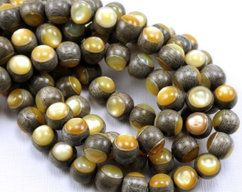Graywood with Gold Mother-of-Pearl Inlay, 8mm, High Quality, Round, Smooth, Natural Wood, Artisan Inlaid Beads, 8-Inch Strand - ID 2483