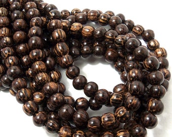 Patikan Wood Bead, 8mm, Old Palmwood, Natural Wood Beads, Round, Smooth, Small, 16 Inch Strand - ID 1413
