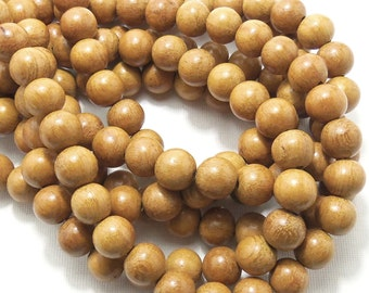 Nangka Wood Bead, 12mm, Round, Smooth, Jackfruit Tree, Natural Wood Beads, Large, 16 Inch Strand - ID 1412