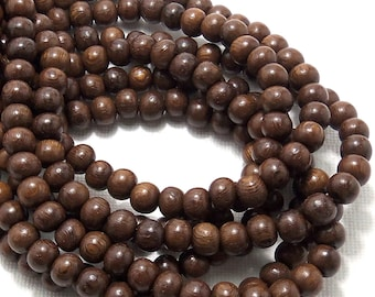 Robles Wood, 6mm-7mm, Round, Light/Dark Brown, Smooth, Small, Natural Wood Beads, 16-Inch Strand - ID 1405