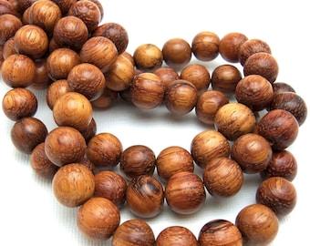 Bayong Wood, 10mm, Round, Smooth, Natural Wood Beads, 16-Inch Strand - ID 1032