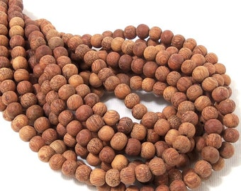 Unfinished Bayong Wood, 6mm-7mm, Unwaxed, Round, Smooth, Natural Wood Beads, Full strand, 75pcs - ID 1912