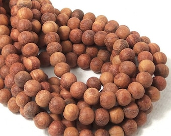 Unfinished Bayong Wood, 8mm, Unwaxed, Round, Smooth, Natural Wood Beads, Round, 16 Inch Strand - ID 1836