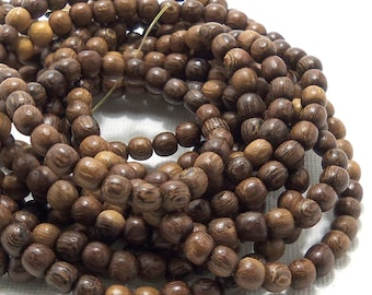 Robles Wood, Round, 4mm - 5mm, Smooth, Very Small, Natural Wood Beads, Full 16 Inch Strand, 80-82pcs - ID 1404