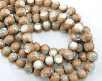Rosewood with White Mother-of-Pearl Inlay, 8mm, High Quality, Round, Smooth, Natural Wood, Artisan Inlaid Beads, 8-Inch Strand - ID 2484