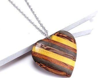 Mosaic Mixed Wood Heart Pendant with Stainless Steel Bail, Multicolored, Large, Artisan Made, Natural Wood, 56x52x10mm, 1pc - ID 2591-PNDT
