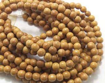 Nangka Wood, 6mm, Natural Wood Beads, Round, Smooth, Small, Full 16 Inch Strand, 70pcs - ID 1410