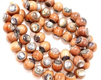 Narra Wood Inlaid with Abalone Shell, 12mm, Round, Natural Wood, Shell Inlay, Artisan Bead, Smooth, 8-Inch Strand - ID 2130