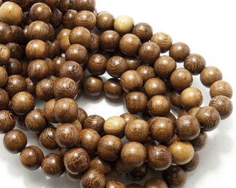 Robles, Natural Wood Beads, Round, Smooth, 12mm, Large, Full 16 Inch Strand, 35-36pcs - ID 1407