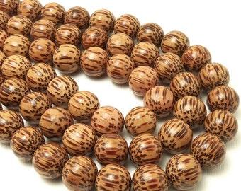 Palmwood Bead, Light, 14mm - 15mm, Round, Smooth, Natural Wood Beads, 16 Inch Strand - ID 1053-LT