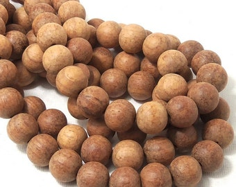 Unfinished Bayong Wood, 12mm, Unwaxed, Round, Smooth, Large, Natural Wood Beads, Full strand, 36pcs - ID 1787