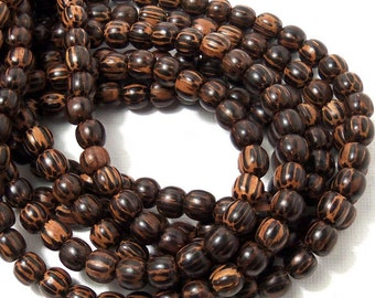 Patikan Wood Bead, 6mm - 7mm, Old Palmwood, Round, Small, Natural Wood Beads, 16 Inch Strand - ID 1673