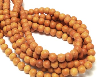 Unfinished Sibucao Wood, 8mm, Unwaxed, Round, Smooth, Natural Wood Bead, Redwood Beads, 16 Inch Strand - ID 2408
