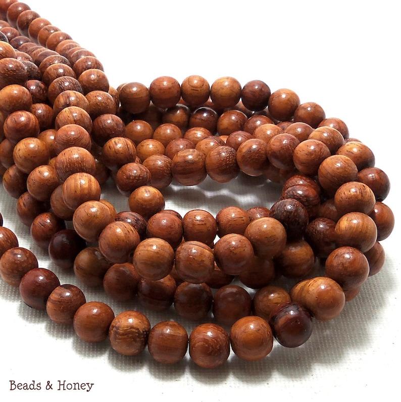 Bayong Wood 8mm Round  Smooth Small Natural Wood Beads image 0