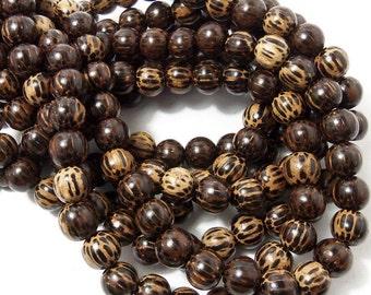 Patikan Wood Bead, 10mm, Old Palmwood, Round, Large, Natural Wood Beads, 16 Inch Strand, 40pcs - ID 1674