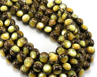 Patikan Wood with Gold Mother-of-Pearl Inlay, 8mm, High Quality, Round, Smooth, Natural Wood, Artisan Inlaid Beads, 8-Inch Strand - ID 2489