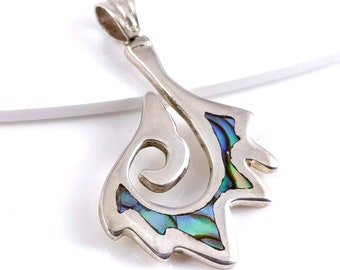 Sterling Silver Pendant with Abalone Shell Inlay, Freeform Pointed Hook, Handmade, Cast Silver, Focal Pendant, 40mm x 25mm (1pc) - ID 2145