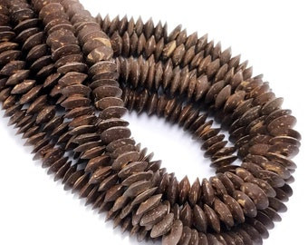 Coconut Shell Bead, 10mm x 4mm, Dark Brown/White, Saucer, Disc, Wheel, Natural, Artisan Handmade Bead, 15-15.5-Inch Strand - ID 2608-DK