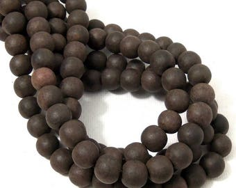 Unfinished Ebony Wood Bead, 8mm, Dark Brown and Black, Round, Small, Natural Wood Bead, 16 Inch Strand - ID 2356-BWN