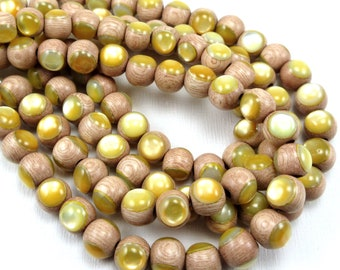Rosewood with Gold Mother-of-Pearl Inlay, 8mm, High Quality, Round, Smooth, Natural Wood, Artisan Inlaid Beads, 8-Inch Strand - ID 2485