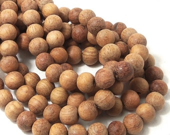Unfinished Bayong Wood Beads, 10mm, Unwaxed, Round, Smooth, Natural, Round, 16 Inch Strand - ID 1644