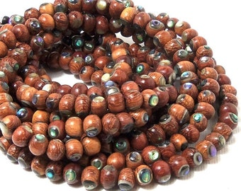 Bayong Wood with Abalone Shell Inlay, Natural Wood, Handmade Artisan Bead, Round, Smooth, 5mm - 6mm, Small, Half Strand, 35pcs - ID 1794