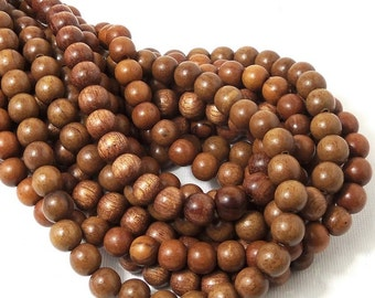 Magkuno Wood, Light, 8mm, Round, Smooth, Small, Natural Wood Beads, Full Strand, 50pcs - ID 1372-LT