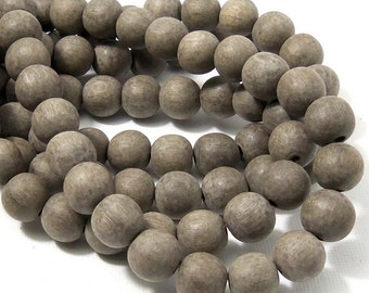 Unfinished Graywood, 10mm, Unwaxed, Round, Natural Wood Beads, 16 Inch Strand - ID 2163
